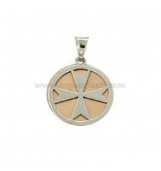 PENDANT 20 MM ROUND WITH MALTA CROSS OR AMALFI SILVER RHODIUM AND COPPER TIT 925