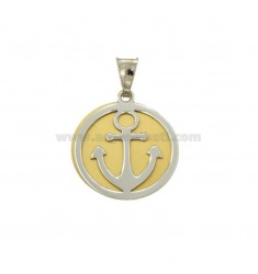 PENDANT 20 MM ROUND WITH STILL IN RHODIUM SILVER AND GOLDEN TIT 925