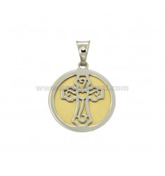 PENDANT 20 MM ROUND WITH CROSS IN SILVER AND GOLD RHODIUM TIT 925