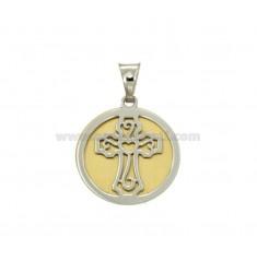 PENDIENTE REDONDO 20 MM CON LA CRUZ en plata y oro RHODIUM TIT 925