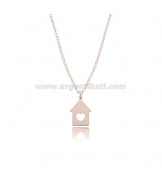 ROLO NECKLACE WITH PENDANT HOUSE IN COPPER SILVER TIT 925 ‰ CM 45