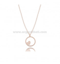 ROLO NECKLACE WITH HEART IN THE CIRCLE PENDANT IN COPPER SILVER TIT 925 ‰ CM 45
