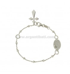 BRACELET ROSARY CABLE WITH BALL MM WITH 3 AVE MARIA IN SILVER RHODIUM TIT 925 CM 19