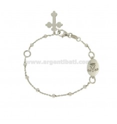 BRACELET ROSARY CABLE WITH BALL MM M CROWN WITH SILVER RHODIUM TIT 925 CM 19