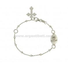 Pulsera del rosario CABLE CON LA BOLA MM M CORONA CON plata del rodio TIT 925 CM 19
