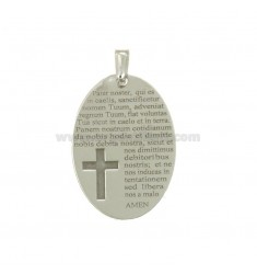 PENDANT OVAL MM 30x20 WITH OUR FATHER IN SILVER RHODIUM TIT 925