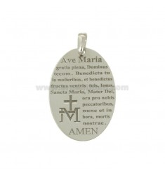 PENDANT OVAL MM 30x20 WITH HAIL MARY IN SILVER RHODIUM TIT 925