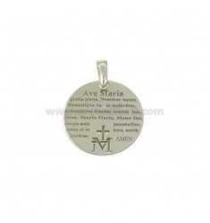 PENDANT 20 MM ROUND WITH HAIL MARY IN SILVER RHODIUM TIT 925