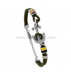 ROPE BRACELET WITH OLIVE AND FLAGS STILL WATER STEEL GLAZED WITH DOT BRASS