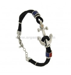 BRACELET IN BLACK WITH ROPE AND FLAGS STILL WATER STEEL GLAZED WITH DOT BRASS