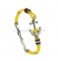 BRACELET IN YELLOW ROPE WITH FLAGS AND STILL WATER STEEL GLAZED WITH DOT BRASS