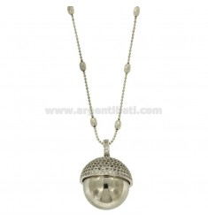 NECKLACE 80 CM WITH CHIAMANGELI 21 MM STEEL AND ZIRCONIA
