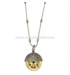 NECKLACE 80 CM WITH CHIAMANGELI 21 MM STEEL TWO TONE GOLD AND ZIRCONIA