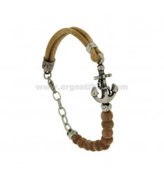 BRACELET IN LEATHER IVORY AND STONES STILL WITH STEEL CENTRAL BRUNITO