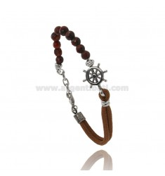 BRACELET WITH HARD STONES AND WAXED SILK ROPE WITH CENTRAL RUDDER IN BURNISHED STEEL