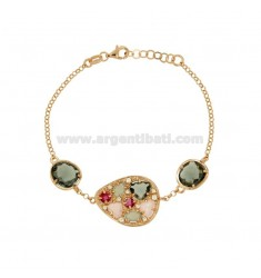 BRACELET WITH STONES AND HYDROTHERMAL ZIRCONIA SILVER ROSE GOLD PLATED TIT 925 CM 18