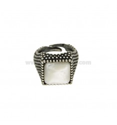 13X13 MM SQUARE RING WITH MICRO SILVER BRUNITO TIT 925 ‰ AND MOTHER OF PEARL SIZE ADJUSTABLE MIGNOLO