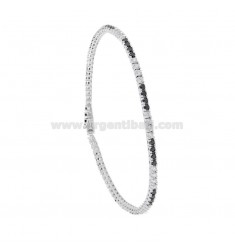 TENNIS BRACELET HIGH QUALITY &39CM 21 SILVER RHODIUM TIT 925 ‰ AND ZIRCONIA 3 WHITE AND BLACKS 3 MM 2