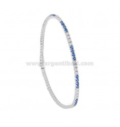 TENNIS BRACELET HIGH QUALITY &39CM 21 SILVER RHODIUM TIT 925 ‰ AND ZIRCONIA 3 WHITE AND BLUE 3 MM 2