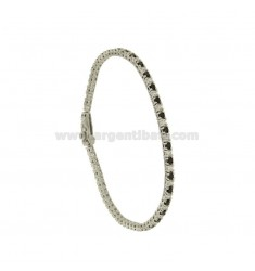 TENNIS BRACELET HIGH QUALITY &39CM 18 SILVER RHODIUM TIT 925 ‰ AND ZIRCONIA WHITE AND BLACKS MM 2