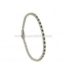 Tennis.Armband hoher Qualität &quotCM 18 Silber rhodiniert TIT 925 ‰ und Zirkoniumdioxid WEISS UND BLACKS MM 2