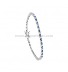 TENNIS BRACELET HIGH QUALITY &39CM 18 SILVER RHODIUM TIT 925 ‰ AND ZIRCONIA WHITE AND BLUE 2 MM