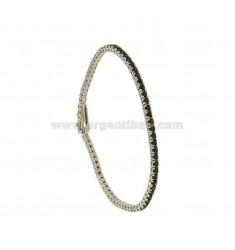 TENNIS BRACELET HIGH QUALITY &39CM 18 SILVER RHODIUM TIT 925 ‰ AND ZIRCONIA BLACKS MM 2
