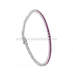 Tennis.Armband hoher Qualität &quotCM 18 Silber rhodiniert TIT 925 ‰ und Rot ZIRCONIA MM 2