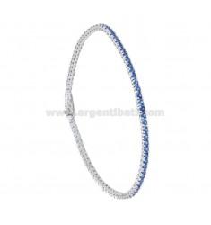 Pulsera de tenis de calidad superior »CM 21 plata del rodio TIT 925 ‰ y azul ZIRCONIA MM 2