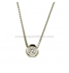 PENDANT LIGHT POINT WITH A FLOWER ZIRCON 4 MM AND CHAIN 45 CM VENETIAN SILVER RHODIUM TIT 925 ‰