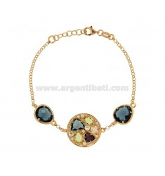 ROLO BRACELET 'ROUND WITH HYDROTHERMAL STONES AND ZIRCONIA IN SILVER PLATED ROSE GOLD TIT 925 CM 18