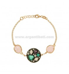 ROLO BRACELET 'ROUND WITH HYDROTHERMAL STONES AND ZIRCONS IN SILVER PLATED RUTHENIUM AND ROSE GOLD TIT 925 CM 18