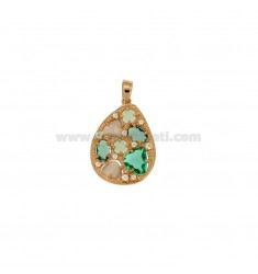 PENDANT WITH STONES AND HYDROTHERMAL ZIRCONIA SILVER ROSE GOLD PLATED TIT 925