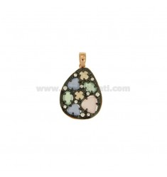 PENDANT WITH STONES AND HYDROTHERMAL ZIRCONIA SILVER AND GOLD PLATED RUTENIO ROSA TIT 925