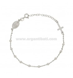 BRACELET ROSARY CABLE WITH BALLS 3 MM SILVER RHODIUM TIT 925 ‰ CM 18.21