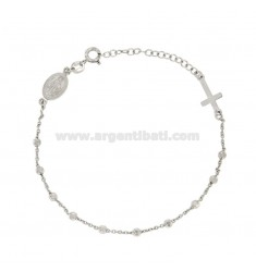 BRACELET ROSARY CABLE WITH BALLS faceted 3 MM SILVER RHODIUM TIT 925 ‰ CM 18.21