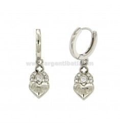 EARRINGS A CIRCLE WITH LOVE CUORICINO SILVER RHODIUM TIT 925 ‰ AND ZIRCONIA