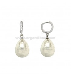 EARRINGS A CIRCLE WITH PEARL BAROQUE WHITE PENDANT SILVER RHODIUM TIT 925 ‰ AND ZIRCONIA
