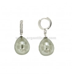 EARRINGS A CIRCLE WITH PEARL BAROQUE GRAY COURT IN SILVER RHODIUM TIT 925 ‰ AND ZIRCONIA