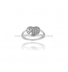 HEART RING IN SILVER TIT 925 ‰ AND ZIRCONIA MEASURE 18