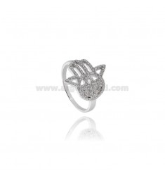 RING OF FATIMA HAND IN SILVER TIT 925 ‰ AND ZIRCONIA MEASURE 14
