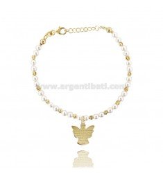 BRACELET WITH BEADS WHITE, SPHERES ALTERNATE CENTRAL AND PRAYER ANGEL IN GOLD PLATED AG TIT 925