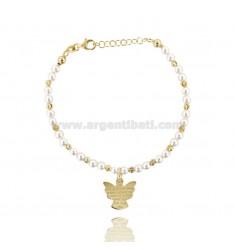 Pulsera con perlas de esferas de color blanco ALTERNOS ÁNGEL CENTRAL Y ORACIÓN EN DORADO AG TIT 925