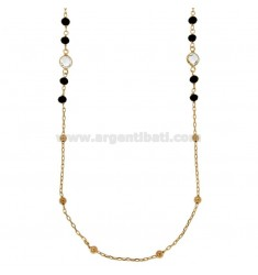 NECKLACE CABLE WITH BALLS AND STONES faceted BRONZE COPPER CM 90
