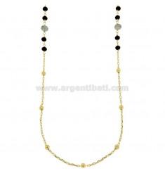 Collar de cable con las bolas y piedras talladas bronce dorado CM 90