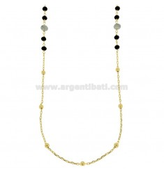 NECKLACE CABLE WITH BALLS AND STONES faceted BRONZE GOLDEN CM 90