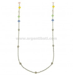 NECKLACE CABLE WITH BALLS AND STONES faceted BRONZE RODIATO CM 90
