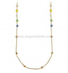 Collar de cable con las bolas y piedras talladas bronce de cobre CM 90