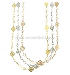 COLLAR CON CABLE DISQUETES PERFORATED PZ 3 BRONCE TRICOLORE CM 90