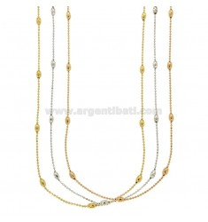 PZ 3 NECKLACE WITH BALL faceted OLIVETTE BRONZE TRICOLORE CM 90